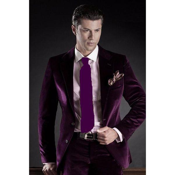 Slim Fit Purple Velvet Groom Tuxedos Notch Lapel Groomsmen Wedding Dress Autumn Winter Style Men Formal Party Prom Suit(Jacket+Pants+Tie)788