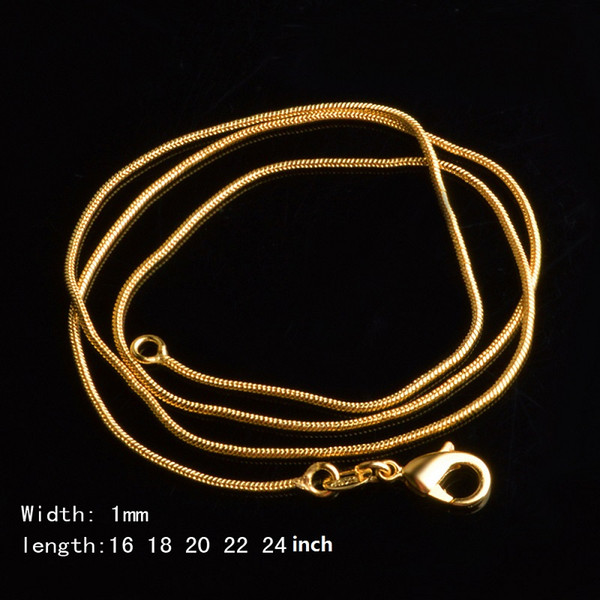 18K Gold Plated 1MM Snake Chain Necklaces Unisex Necklace 16 18 20 22 24 Inch DIY Statement Jewelry for Women Men Christmas Gift