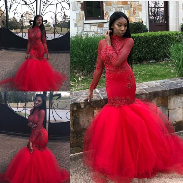 African Red Mermaid Prom Dresses 2019 Long Sleeves Beads lace Appliques High Neck Tiered Floor Length Tulle Party Evening Gowns Wear