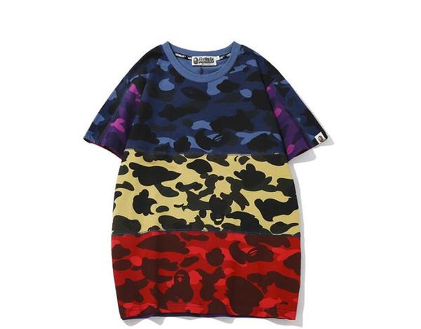 Summer Tide Marque Adolescent Camo Impression couleur T-shirt assorti hommes \ 'Casual col rond loose à manches courtes T-shirts gratuit Shippingin JH