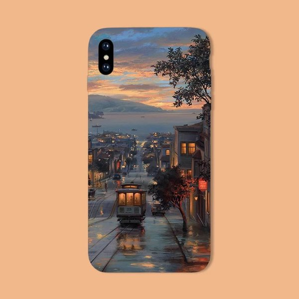 Apple X Mobile Phone Case IPhone8 Soft Shell XS Aesthetic Artistic  Conception Street 7plus Full Package MAX Scrub 6s Illustration XR Cell  Phone Cases