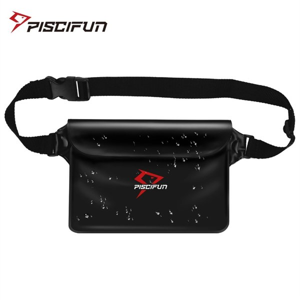 Piscifun Waterproof Waist Pouch Phone Valuables Pocket Bag for Water Sports Fishing Swimming Kayaking Rafting Boating Diving #717359