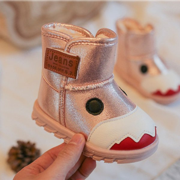 Wholesale Korea Style Baby Kids Adorable LittleMonsters Waterproof Snow Boots Girls Boys Winter Thick Soft Bottom High Top Plus Plush Shoes