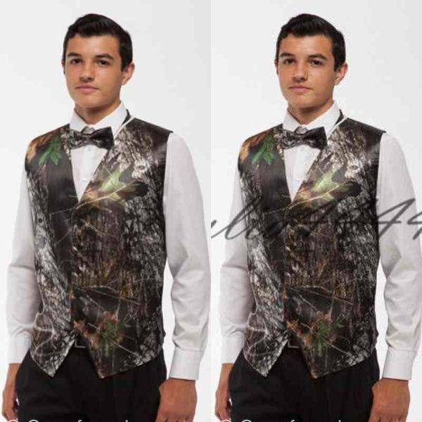 2019 Nueva moda Camo Novio Chaleco Camuflaje Slim Fit Mens formal Tuxedo Chaleco para boda Envío Gratis (Chaleco + Arco)