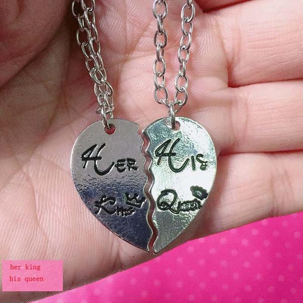 его королева король мода 2шт /комплект резной письмо кулон ожерелье для Валентина'\День кулон ожерелье новые ювелирные изделия подарки бесплатная доставка