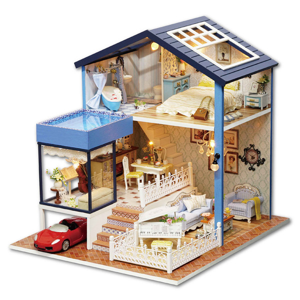 Fantasy Forest Wooden Assemble DIY Dollhouse Animals Family Doll House With Light Miniature Fantasy Model