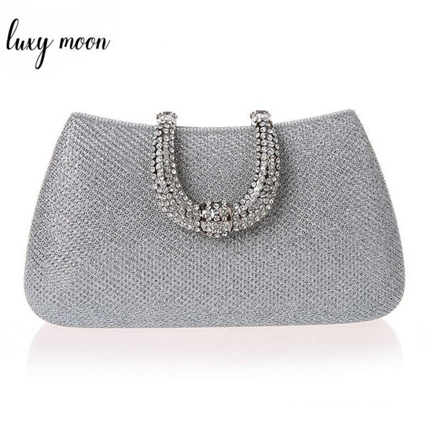 9d3390382d32 Luxy Moon женщины кристалл U Diamond застежка сумки сцепления блеск  серебряные вечерние сумки золотой клатч партии