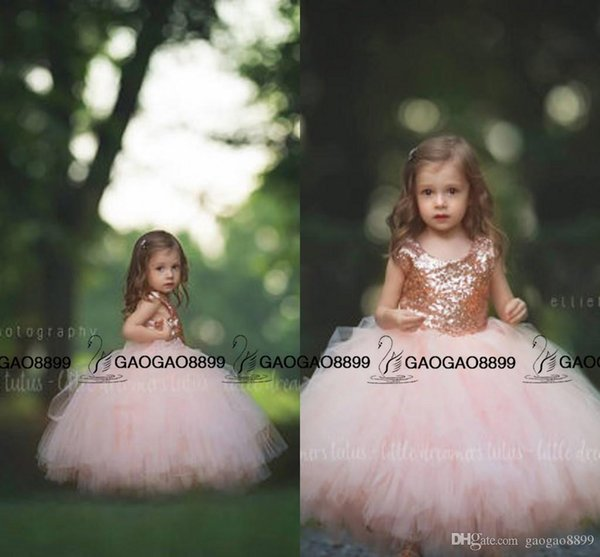 communion dress Rose Gold Sequins Blush Tulle Ball Gown Flower Girls' Dresses Cap Sleeve Puffy Little Girls Wedding Party Dress