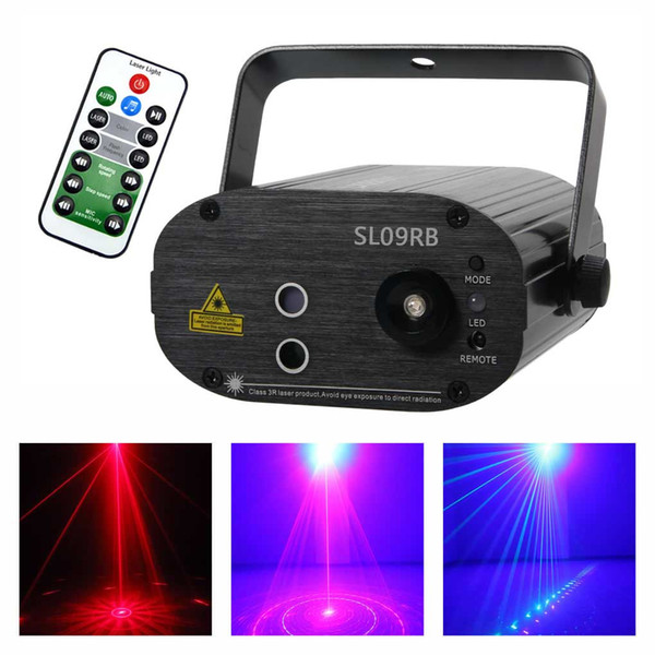 AUCD Mini 9 Patterns Blue LED Red Laser Lens Lights Effect Portable Projector 3W Disco DJ Party Show Club Stage Lighting SL09RB