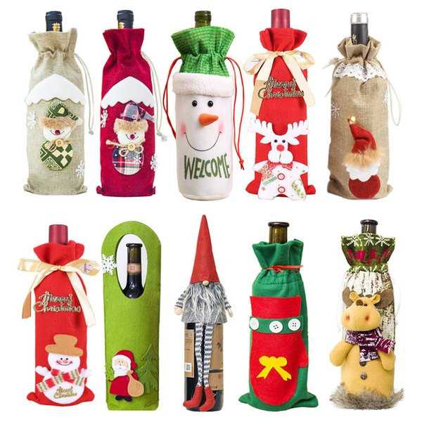 New Year 2020 Christmas Gift Wine Bottle Dust Cover Bag Santa Claus Navidad Tableware Christmas Decoration for Home Table Decor