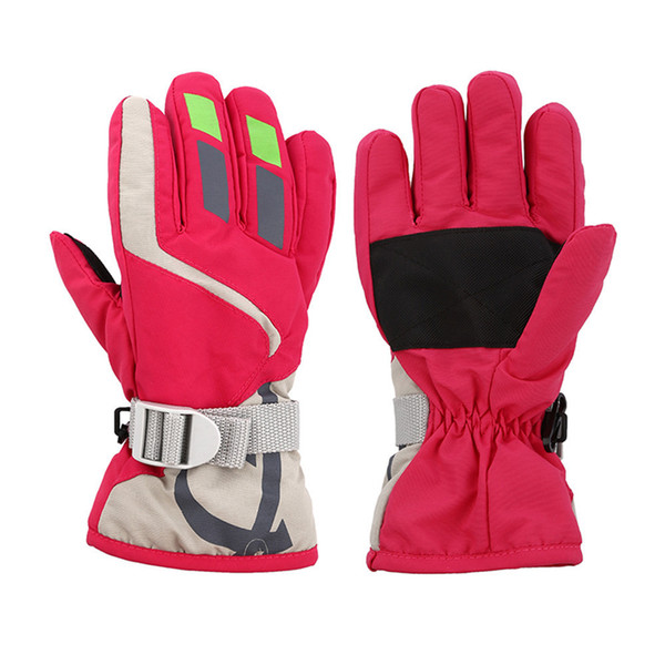 best selling Child Boys girls Winter Warm Waterproof Windproof Snow Snowboard Ski Sports Gloves Breathable Adjustable Ski Strap Skiing Gloves