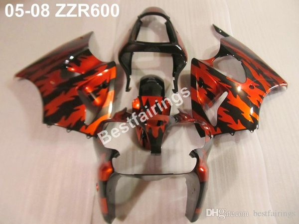 Hot sale Injection body fairing kit for Kawasaki ZZR600 05 06 07 08 red black fairings set ZZR 600 2005-2008 ZV13