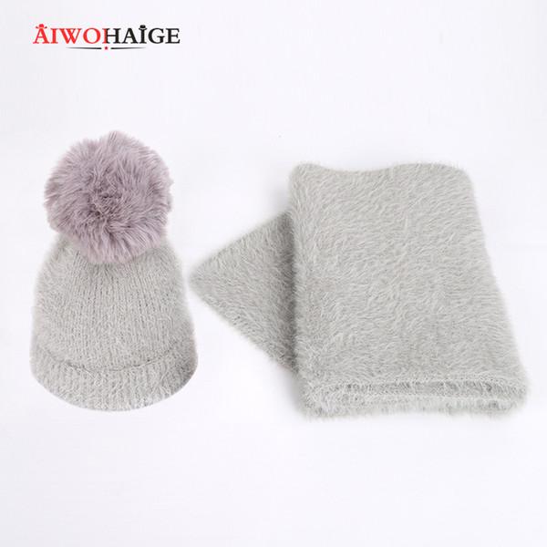 2019 New Angora Wool Knit Scarf Beanies Hat 2 Pieces Set Winter Warm parent-child Wear Adults Children Women Kids Girl Soft Cap