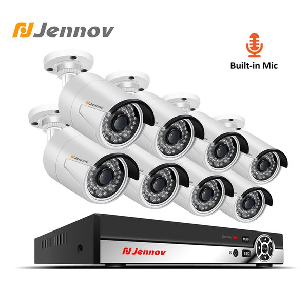 Jennov 2MP 8CH 1080P CCTV Set HD Video Surveillance Kit Security Camera System Audio Record System P2P POE NVR Night View