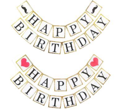 Gold Edge Beard Happy Birthday Banner Kids Child Boy Girl Party Decorations Paper Bunting PhotoBooth Garland Supplies