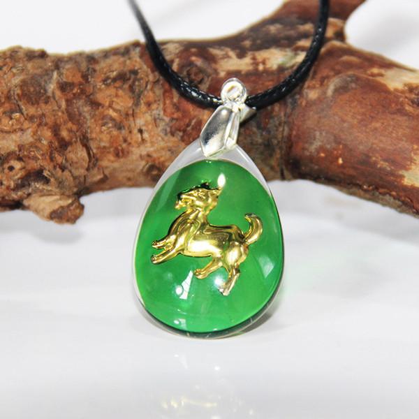 New vinda ouro cão chinês pingente banhado vidro cristal com corrente para homens / colar de proteção do zodíaco das mulheres