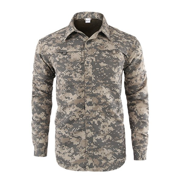 ESDY Men Hiking Shirts Solider Tactical Camo Shirts Quick Drying Outdoor Hiking Trekking Clothes Men Sunscreen Fishing