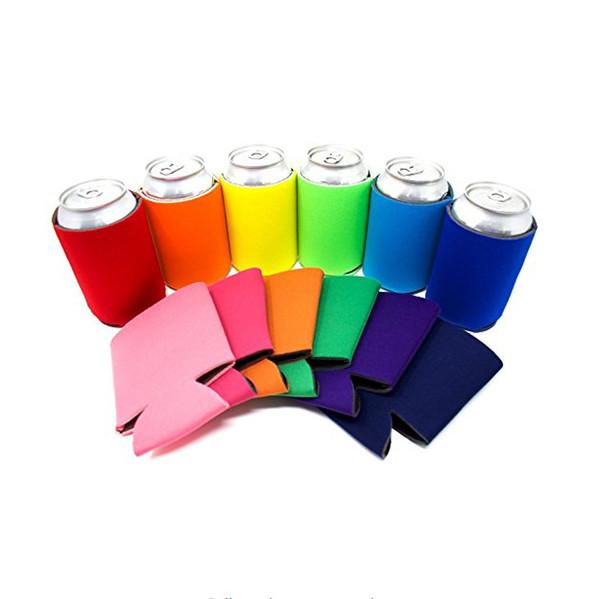 Einfarbig Neopren Faltbare Stubby Inhaber Bier Kühltaschen Für Wein Konservendosen Abdeckung Küchenhelfer TC190628 100 stücke