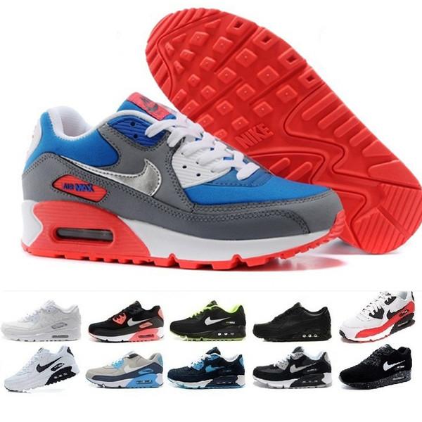 Acheter Nike Air Max 90 Airmax Nouveau Design Air Cushion 90 Casual Running Hommes Femmes Chaussures Pas Cher Noir Blanc Rouge 90 Baskets Classique