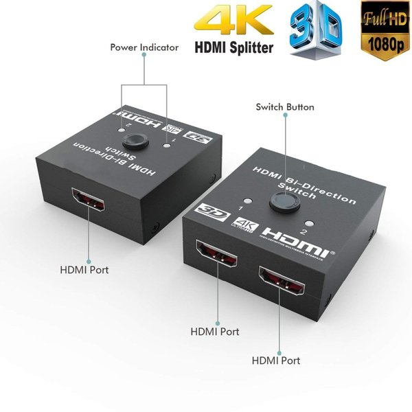 HDMI Splitter Full HD 1080p 3D 4KX2K Video HDMI Switch Switcher 1X2 2X1 Split 1 in 2 Out Amplifier Dual Display For HDTV