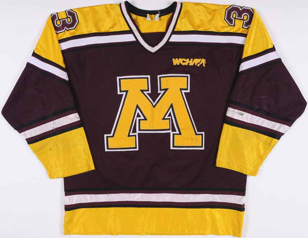 Mr. Minnesot1995 Nick Checco Universität Minnesota Golden Gophers Hockey Jersey Stickerei genäht Passen Sie jede Anzahl und Name Trikots an