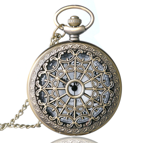 ocket & Fob Watches Relogio De Bolso Bronze Antique Vintage Quartz Steampunk Pocket Watch Spider Web Hollow Women Men Pendant Necklace Ch...