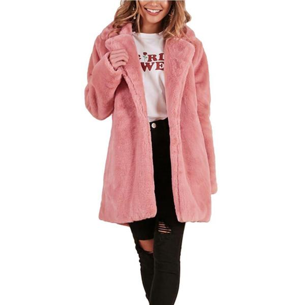 2018 Winter Rosa Faux Pelzmantel Frauen Haarige Plüsch Dicke Warme Lange Mäntel Outwear Mode Revers Flauschigen Pelz Jacken Mantel Casaco
