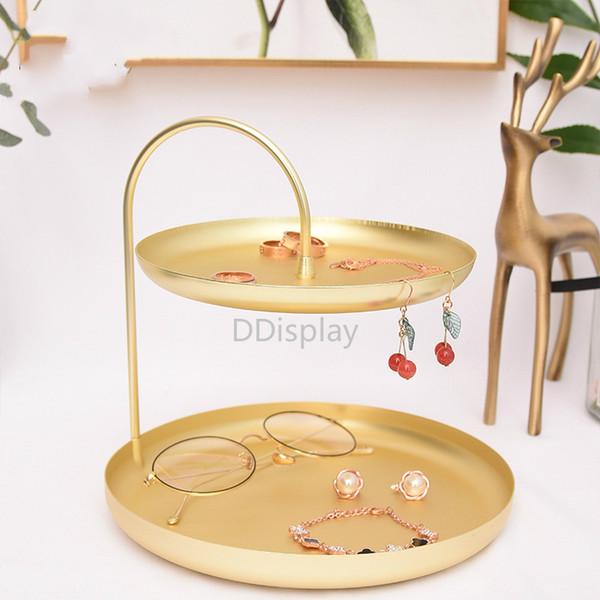 [DDisplay]Golden Metal Standing Jewelry Organizer Luxury Tray Jewelry Storage Rack Cosmetics Display Shelf Genuine Key Hanging Tray