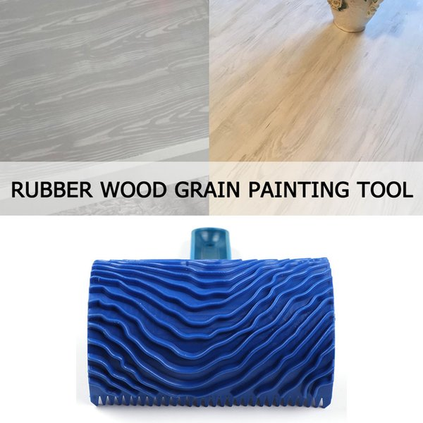 Handle Tool Painting Roller Decoration Graining Wall Wood Pattern Art Empaistic Home DIY Durable Imitation Brush Rubber Blue
