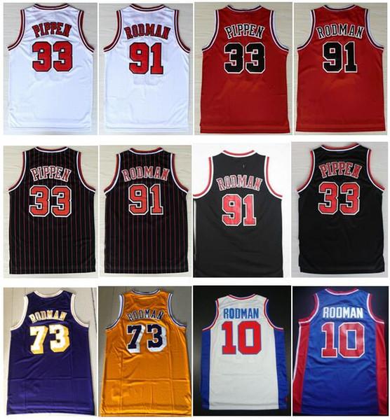 top popular Good Quality Embroidery Vintage Yellow Purple 73# Rodman Jersey Scottie #33 Pippen Jersey Retro Dennis 91# Rodman Jersey 45# Michael J Shirt 2019