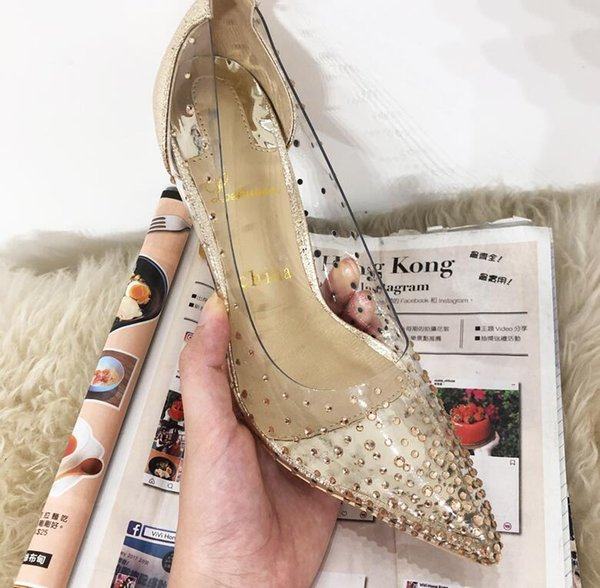 Silver Golden Stiletto Clear Rivet Stud High Heels Red Bottom 8CM 10CM Pointy Toe Brand Shoes Woman Dress Spring 2019 Sandles