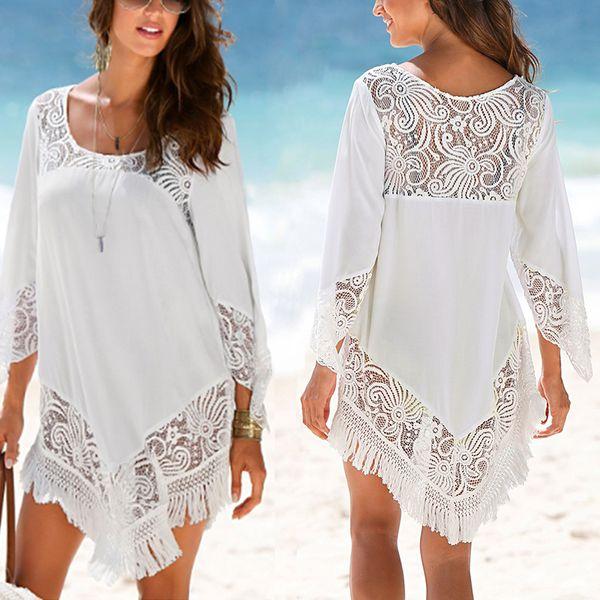 2dd7de63fbc9c Женская летняя пляжная накидка из кружева крючком с полыми рукавами  нерегулярные пляжные блузки туники-маскировки