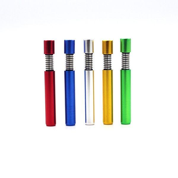 Tubo humeante para fumar en la boca de varios colores Un bateador de aluminio con murciélagos de resorte de aluminio puede limpiarse a sí mismo con una longitud de 55 mm
