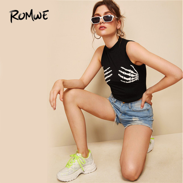 Romwe Skeleton Hands Print Crop Top 2019 Women Sexy Stylish Black Tank Tops Spring Autumn Female Cool Girls Slim Fit Vest J190622