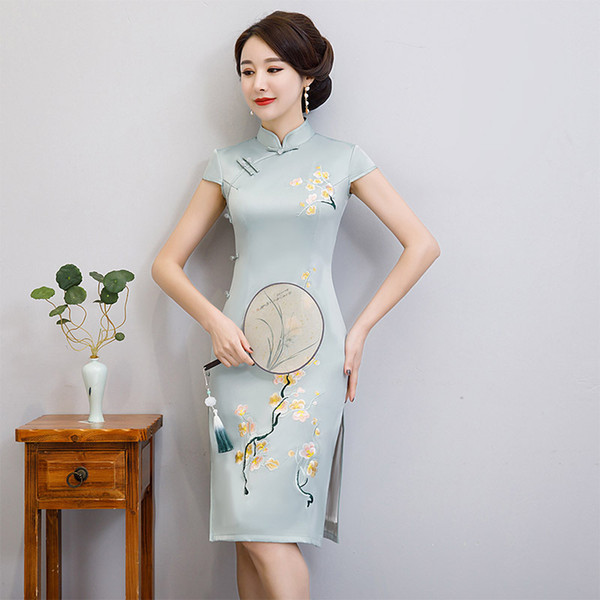 sky blue chinese style embroidery slim dress vintage ladies short qipao rayon classic stage show elegant female cheongsam m-3xl