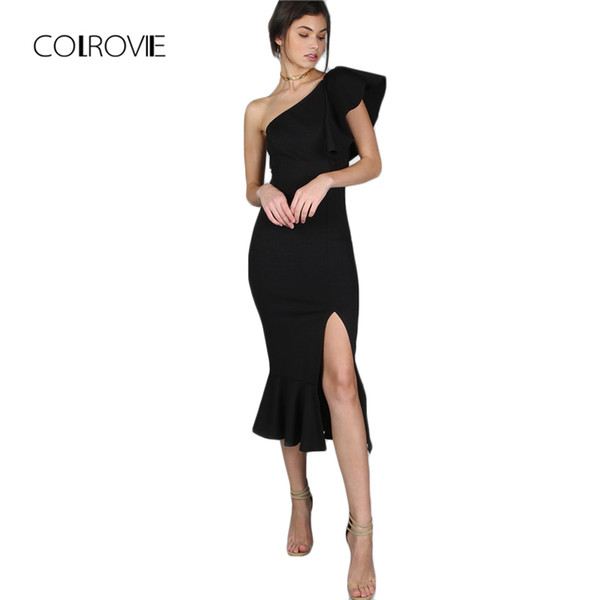 Colrovie Black Party Dress Women One Shoulder Frill Peplum Hem Sexy Elegant Summer Dresses Slim Ruffle Split Bodycon Dress Y19073101