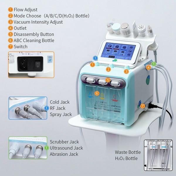 Neue 6in1 H2-O2 Hydra Dermabrasion RF Bio-Lifting Spa Hydro Mikrodermabrasion Gesichts Maschine / Dermabrasion Cold Hammer Sauerstoff Spray