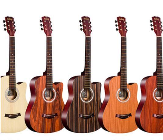 venta al por mayor de la guitarra acústica 38 pulgadas Sapele, palo de rosa, madera de cebra, ceniza, palo de rosa, ébano, principiantes de roble blanco para practicar el piano