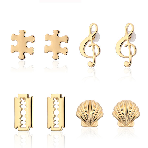 4 Pairs/set Stud Earrings Set for Women Trendy Mixed Stainless Steel Music Note Puzzle Shell Statement Korean Earrings brincos
