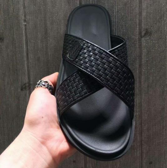 Newest Men Print Leather Sandal Striking Gladiator Style Real Leather Outsole Perfect Flat Plain Sandal