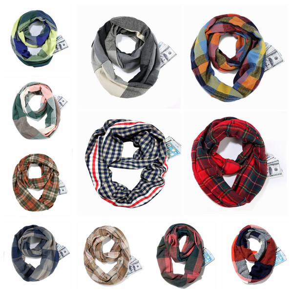 top popular Plaid Scarf Ring Girls Shawl 25*170cm pocket infinity scarf Grid Wraps Lattice loop Neck Scarves Pashmina Winter Neckerchief good LJJA3015 2021
