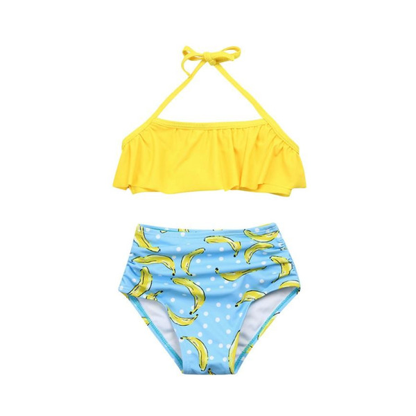 2019 New Baby Girl swimwear Two pieces Set Little Girl 2PCS Ruffle Halter Swimwear Bathing Suit Beachwear Sets Kids Clothes