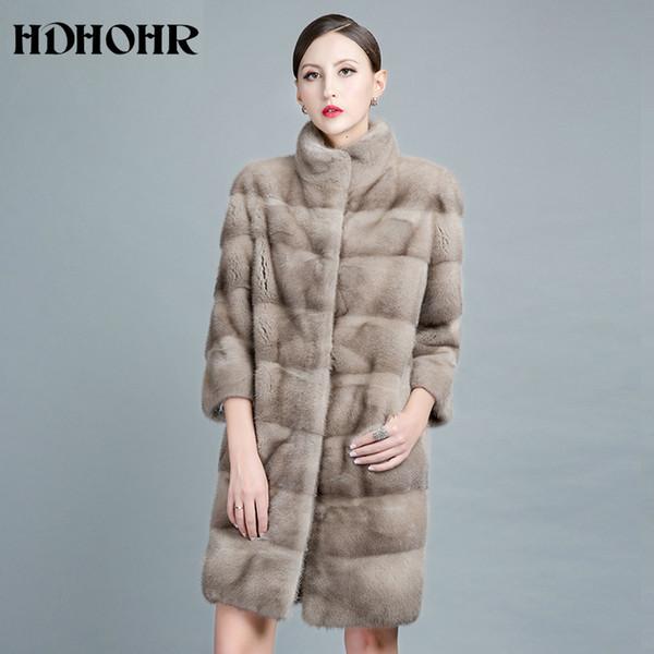 HDHOHR 2018 Новых природных норок пальто для женщин Outwear парка с мехом Женского Теплого жилетом Зимнего Real норка Куртка Y190916