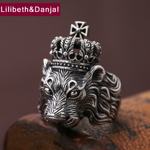 Men Ring 100% Real 925 sterling silver Jewelry Vintage Animal Lion Crown Cross LOVR Christmas Gift MR11 C18112301