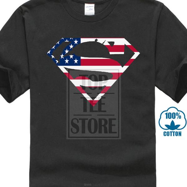 Impresión de camisetas personalizadas Venta barata 100% CottonLogo S Shield Bandera americana Camiseta Exclusivas Pegatinas Clásicas