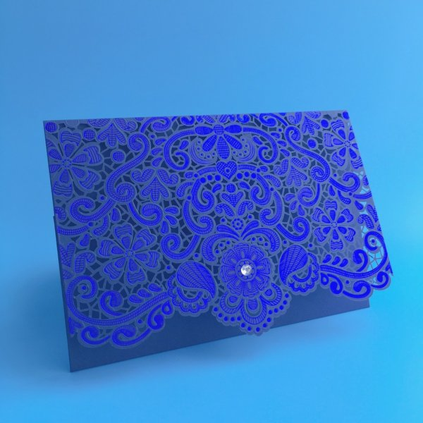 Bleu Royal Rose Rouge Or Laser Décoré Au Laser Invitations De Mariage Strass 50pcs Partie Décoration Vintage Cartes De Mariage Invitation 2017