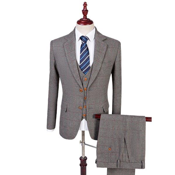 Wool Retro Grey Herringbone Tweed British style custom made Mens suit tailor slim fit Blazer wedding suits for men 3 piece C18122501