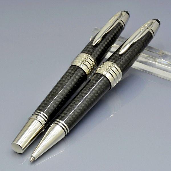 Top High quality John F. Kennedy Black Carbon fiber Roller ball pen Ballpoint pen with Luxury JFK Carving Mark Monte Branding Serial Number