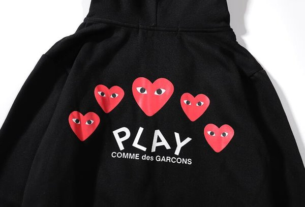 Top Quality CDG PLAY Sweatershirt fear god Pullover LONG Sleeve HOODIES WITH HEART HOLIDAY COM Shirts Anti-Pilling Cheap Love Lovers