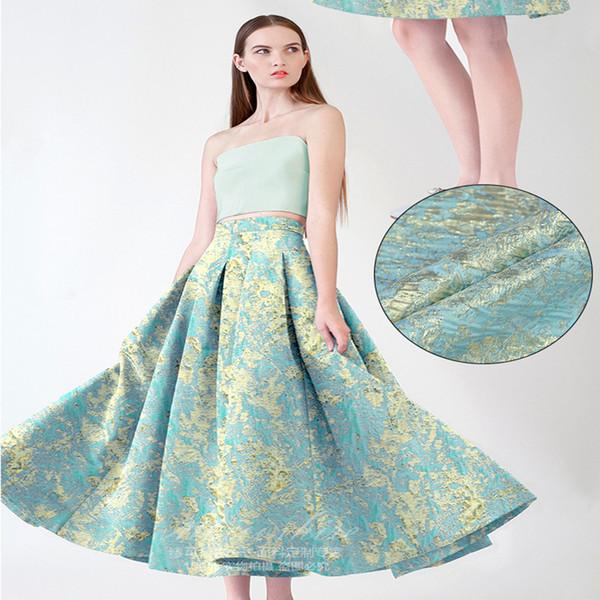 "1 Meter Brocade Jacquard Fabric 55"" Gold Ribbon Polyester Material Sewing Dress Clothes Coats Patchwork Diy Blue Fabrics Graffiti Pattern"